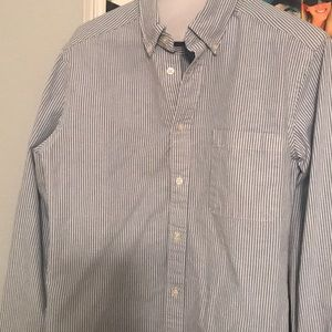 Blue and white stripe, long sleeve button down.